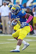 Newark, DE - October 29, 2016: Delaware Fightin Blue Hens running back Thomas Jefferson (28) runs the ball during game between Towson and Delware at  Delaware Stadium in Newark, DE.  (Photo by Elliott Brown/Media Images International)