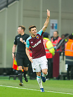 West Ham's Aaron Cresswell  celebrating after scoring first goal during the EPL - Premier League match between West Ham United and Manchester City at the Olympic Park, London, England on 29 April 2018. Photo by Andrew Aleksiejczuk / PRiME Media Images.