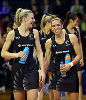 12.10.2016 Silver Ferns Katrina Grant and Grace Rasmussen in action during the Silver Ferns v Australia netball test match played at the Silver Dome in Launceston in Australia.. Mandatory Photo Credit ©Michael Bradley.