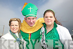 MEETING ST. PATRICK: Locals from Castlegregory village met St. Patrick at the parade on Saturday afternoon. From l-r were: Cathriona Rohan (Castlegregory Community Council), John Scanlon (St. Patrick) and Niamh OShea..