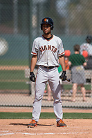 San Francisco Giants outfielder Aaron Bond (25) during a Minor League Spring Training game against the Oakland Athletics at Lew Wolff Training Complex on March 26, 2018 in Mesa, Arizona. (Zachary Lucy/Four Seam Images)