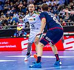 Maximilian JANKE (#13 SC DHfK Leipzig) \Maximilian TROST (#25 SG Bietigheim) \ beim Spiel in der Handball Bundesliga, SG BBM Bietigheim - SC DHfK Leipzig.<br /> <br /> Foto &copy; PIX-Sportfotos *** Foto ist honorarpflichtig! *** Auf Anfrage in hoeherer Qualitaet/Aufloesung. Belegexemplar erbeten. Veroeffentlichung ausschliesslich fuer journalistisch-publizistische Zwecke. For editorial use only.
