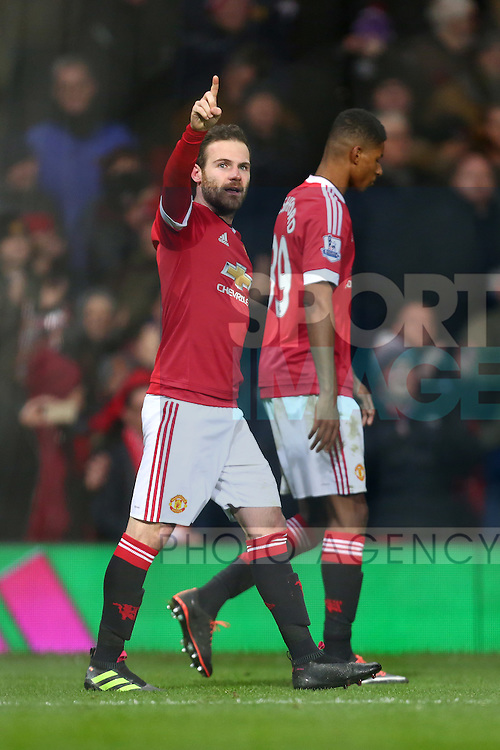 Juan Mata of Manchester United celebrates his winning goal - Barclay's Premier League - Manchester United vs Watford - Old Trafford - Manchester - 02/03/2016 Pic Philip Oldham/SportImage