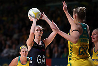 11.10.2017 Silver Ferns Bailey Mes in action during the Constellation Cup netball match between the Silver Ferns and Australia at Titanium Security Arena in Adelaide. Mandatory Photo Credit ©Michael Bradley.