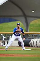 Biloxi Shuckers first baseman Nick Ramirez (14) waits for a throw during a game against the Birmingham Barons on May 24, 2015 at Joe Davis Stadium in Huntsville, Alabama.  Birmingham defeated Biloxi 6-4 as the Shuckers are playing all games on the road, or neutral sites like their former home in Huntsville, until the teams new stadium is completed in early June.  (Mike Janes/Four Seam Images)