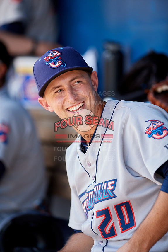 Jacksonville Jumbo Shrimp pitcher Cody Poteet (20) in the dugout during a game against the Biloxi Shuckers on May 6, 2018 at MGM Park in Biloxi, Mississippi.  Biloxi defeated Jacksonville 6-5.  (Mike Janes/Four Seam Images)