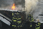 firemen, putting out, roof, fire, NYC smoke, water, flames, action,hero,hose,