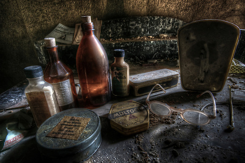 Dressing table found in an abandoned doctors house