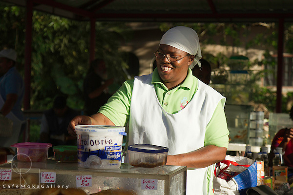 Farmer's Market - woman selling pies and pholourie - Diego Martin