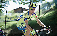 Michael Rogers (AUS/Tinkoff-Saxo) up the Monte Ologno (1168m)<br /> <br /> Giro d'Italia 2015<br /> stage 18: Melide (SUI) - Verbania (170km)