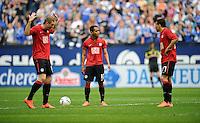 FUSSBALL   1. BUNDESLIGA   SAISON 2011/2012   33. SPIELTAG FC Schalke 04 - Hertha BSC Berlin                         28.04.2012 Pierre-Michel Lasogga , Raffael und Aenis Ben Hatira (v.l., alle Hertha BSC Berlin)