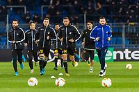 27th February 2020; St Jakob Park, Basel, Switzerland; UEFA Europa League Football, FC Basel versus APOEL Nicosia; The APOEL Nicosia team  warm up before the match