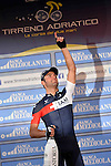 Matteo Pelucchi, IAM Cycling, dedicates his victory to his fallen team mate Kristof Goddaert, who died a few weeks ago [18 February] in a road accident, after winning Stage 2 of the 2014 Tirreno-Adriatico, running from San Vincenzo to Càscina (166 km). 13th March 2014.      <br /> Photo: Gian Mattia D'Alberto/LaPresse/www.newsfile.ie