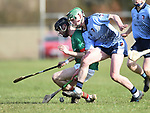 Michael Hynes of Scariff Community College in action against Dylan Delaney of St Fergal's College during their All-Ireland Colleges final at Toomevara. Photograph by John Kelly.