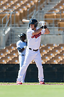 Glendale Desert Dogs right fielder Connor Marabell (4), of the Cleveland Indians organization, at bat during an Arizona Fall League game against the Mesa Solar Sox at Camelback Ranch on October 15, 2018 in Glendale, Arizona. Mesa defeated Glendale 8-0. (Zachary Lucy/Four Seam Images)