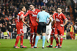 Sevilla FC's Mercado, Vicente Iborra, Mariano Ferreira and   Samir Nasri protest to the referee during Copa del Rey match between Real Madrid and Sevilla FC at Santiago Bernabeu Stadium in Madrid, Spain. January 04, 2017. (ALTERPHOTOS/BorjaB.Hojas)