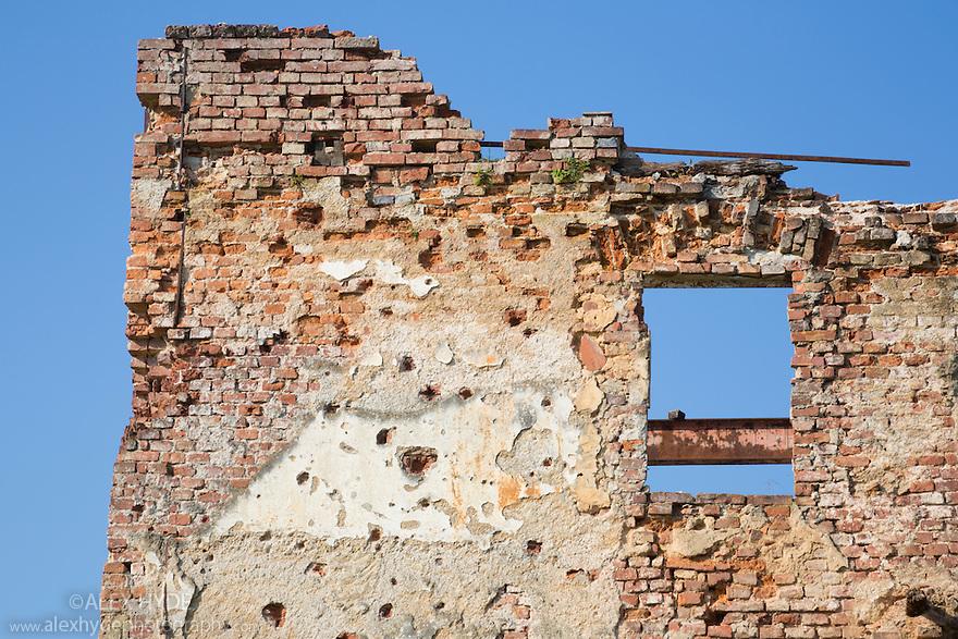 Building showing military damage from the Homeland War (1991-1995), Turanj nr. Karlovac, Croatia.