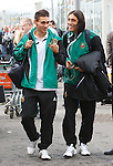 Rapid Vienna midfield duo Veli Kavlak and Yasin Pehlivan have a laugh after arriving in Glasgow
