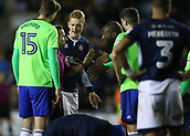 9th February 2018, The Den, London, England; EFL Championship football, Millwall versus Cardiff City; Sol Bamba of Cardiff City complaining to Referee Keith Stroud after his overhead kick goal in the 2nd goal but was ruled not a goal by Referee Keith Stroud due to a Cardiff player lying on the pitch injured
