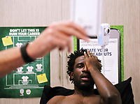 Pictured: Wilfried Bony is examined by team doctor Jez McCluskey during his medical at the Fairwood Training Ground, Wales, UK. Thursday 31 August 2017<br />Re: Wilfried Bony has signed a contract with Swansea City FC.