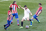 Atletico de Madrid's Koke Resurrecccion (l), Filipe Luis (2l) and Gabi Fernandez (r) and Sevilla FC's Pablo Sarabia during La Liga match. March 19,2017. (ALTERPHOTOS/Acero)