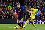 Ivan Rakitic of FC Barcelona (L) fights for the ball with Samuel Chukwueze of Villarreal (R) during the La Liga 2018-19 match between FC Barcelona and Villarreal at Camp Nou on 02 December 2018 in Barcelona, Spain. Photo by Vicens Gimenez / Power Sport Images