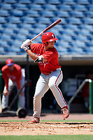 Philadelphia Phillies left fielder Ben Akilinski (25) at bat during a Florida Instructional League game against the Toronto Blue Jays on September 24, 2018 at Spectrum Field in Clearwater, Florida.  (Mike Janes/Four Seam Images)