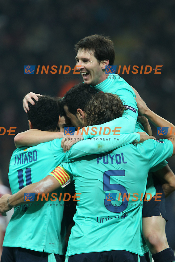 "Lionel Messi Barcellona..Celebration..Milano 23/11/2011 Stadio ""S.Siro""..Football / Calcio Champions League 2011/2012..Milan vs Barcellona..Foto Paolo Nucci Insidefoto"