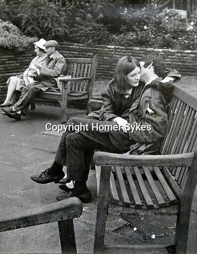Couples young and old. Bristol Somerset UK. Taken while a student at Sidcot School Somerset. Circa 1965.