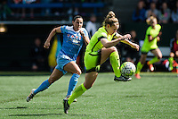 Seattle, WA - Sunday, May 22, 2016: Seattle Reign FC midfielder Kim Little (8) drives past the Chicago Red Stars defense during a regular season National Women's Soccer League (NWSL) match at Memorial Stadium. Chicago Red Stars won 2-1.
