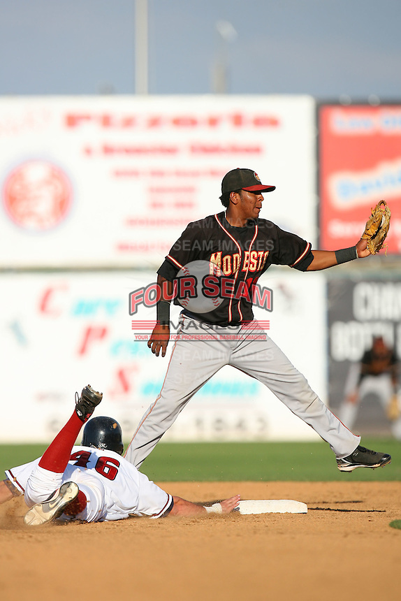 August 24 2008: Daniel Mayora of the Modesto Nuts during game against the Lancaster JetHawks at Clear Channel Stadium in Lancaster,CA.  Photo by Larry Goren/Four Seam Images