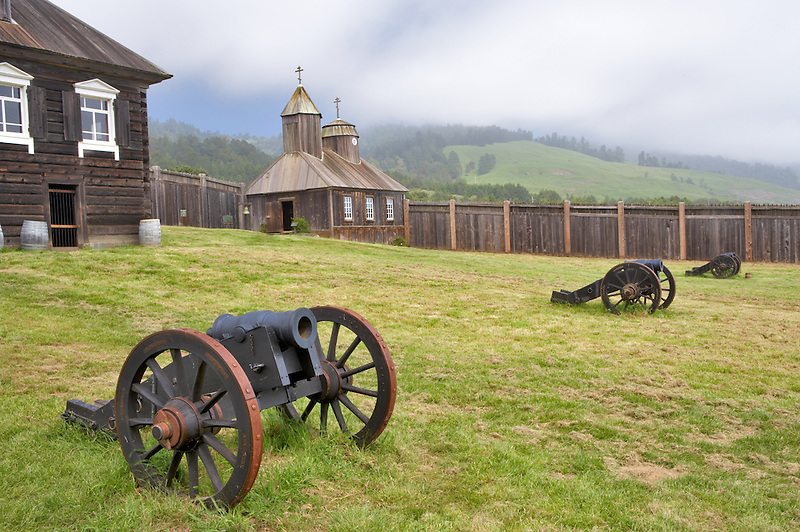 Canon and chapel at Fort Ross State Park. California