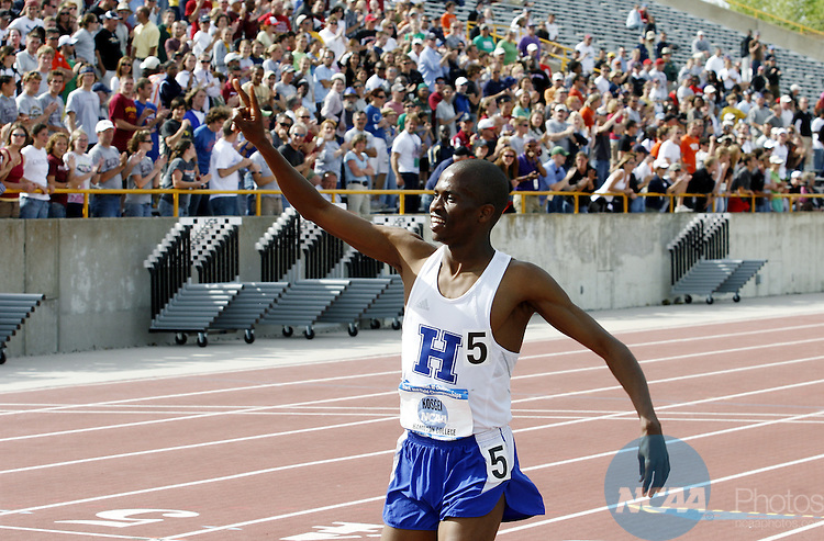 24 MAY 2008:  Hamilton College sophomore Peter Kosgei crosses the finish line in 5,000 meter finals with a winning time of 14:32:57 during the Men's Outdoor Track & Field Championships held at J.J. Keller Field on the University of Wisconsin, Oshkosh campus in Oshkosh, WI.   Al Fredrickson/NCAA Photos