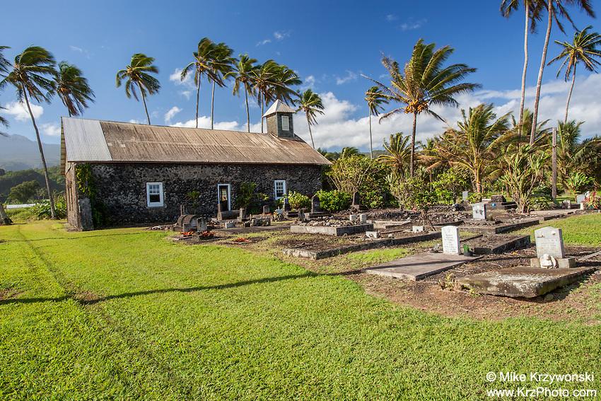 Ke'anae Congregational Church & cemetery, built in 1860, Ke'anae Peninsula, on the way to Hana, Maui