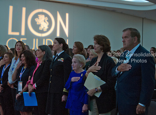 (From right to left) Former United States Secretary of Homeland Security Tom Ridge, NPR National Political Correspondent Mara Liasson, former US Secretary of State Madeleine Albright, and Lt. Cmdr. Alexa Jenkins, Commanding Officer, USS Tornado (PC-14) listen as the National Anthem is performed at the just before addressing 1300 women philanthropists at the Jewish Federations' 2016 International Lion of Judah Conference on &quot;Fifteen Years After 9/11&quot; at the Washington Hilton Hotel on Sunday, September 11, 2016. <br /> Credit: Ron Sachs / CNP