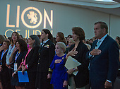 "(From right to left) Former United States Secretary of Homeland Security Tom Ridge, NPR National Political Correspondent Mara Liasson, former US Secretary of State Madeleine Albright, and Lt. Cmdr. Alexa Jenkins, Commanding Officer, USS Tornado (PC-14) listen as the National Anthem is performed at the just before addressing 1300 women philanthropists at the Jewish Federations' 2016 International Lion of Judah Conference on ""Fifteen Years After 9/11"" at the Washington Hilton Hotel on Sunday, September 11, 2016. <br /> Credit: Ron Sachs / CNP"