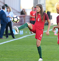 20171024 - PENAFIEL , PORTUGAL : Portugese Silvia Rebelo (4)  pictured during warming up of a women's soccer game between Portugal and the Belgian Red Flames , on tuesday 24 October 2017 at Estádio Municipal 25 de Abril in Penafiel. This is the third game for the  Red Flames during the Worldcup 2019 France qualification in group 6. PHOTO SPORTPIX.BE | DAVID CATRY