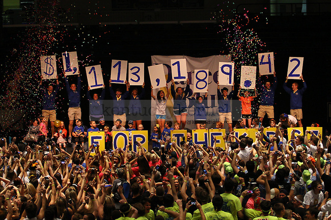 The money raised for the clinic is announced as confetti is released at DanceBlue 2013 at Memorial Coliseum in Lexington, Ky., on Saturday, February 23, 2013. Photo by Michael Reaves | Staff