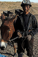 Coal mining worker with a mule stands outside the underground coal mine field in Wu Hai Xi, Inner Mongolia, China..