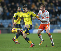 Blackpool's Sean Longstaff battles with Oxford United's Josh Ruffels<br /> <br /> Photographer Mick Walker/CameraSport<br /> <br /> The EFL Sky Bet League One - Oxford United v Blackpool - Saturday 6th January 2018 - Kassam Stadium - Oxford<br /> <br /> World Copyright &copy; 2018 CameraSport. All rights reserved. 43 Linden Ave. Countesthorpe. Leicester. England. LE8 5PG - Tel: +44 (0) 116 277 4147 - admin@camerasport.com - www.camerasport.com