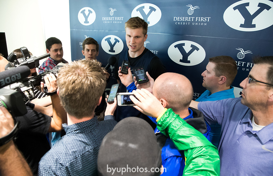 16-17mBKB Eric Mika Press Conf 003<br /> <br /> 16-17mBKB Eric Mika Press Conference<br /> <br /> BYU Basketball's Eric Mika holds a press conference to announce that he will declare for the NBA draft.<br /> <br /> March 22, 2017<br /> <br /> Photo by Jaren Wilkey/BYU<br /> <br /> &copy; BYU PHOTO 2017<br /> All Rights Reserved<br /> photo@byu.edu  (801)422-7322