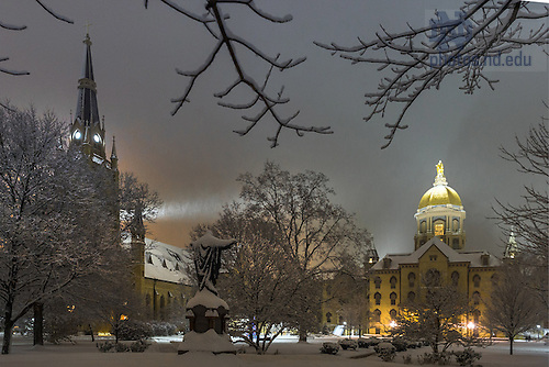 December 11, 2016; Main Building and Basilica steeple during snowfall (Photo by Matt Cashore/University of Notre Dame)