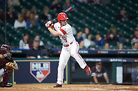O'Neal Lochridge (7) of the Louisiana Ragin' Cajuns at bat against the Mississippi State Bulldogs in game three of the 2018 Shriners Hospitals for Children College Classic at Minute Maid Park on March 2, 2018 in Houston, Texas.  The Bulldogs defeated the Ragin' Cajuns 3-1.   (Brian Westerholt/Four Seam Images)