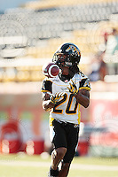 Aug 3, 2007; Hamilton, ON, CAN; Winnipeg Blue Bombers play the Hamilton Tiger-Cats at Ivor Wynne Stadium. The Tiger-Cats defeated the Blue Bombers 43-22. Mandatory Credit: Ron Scheffler. Pictured here is Hamilton Tiger-Cats defensive back (20) Dwight Anderson.