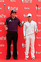 Rory McIlroy and Phil Mickelson  shake hands at a photocall ahead of the Abu Dhabi HSBC Golf Championship played at Abu Dhabi Golf Club 16-19 January 2014.(Picture Credit / Phil Inglis)