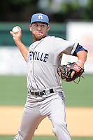 Starting pitcher Matt Carasiti (25) of the Asheville Tourists delivers a pitch in a game against the Greenville Drive on Sunday, July 20, 2014, at Fluor Field at the West End in Greenville, South Carolina. Asheville won game one of a doubleheader, 3-1. (Tom Priddy/Four Seam Images)
