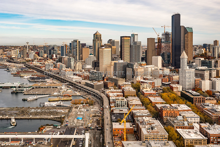 10/21/2016-- Seattle, WA, USA<br /> <br /> Aerial view of Seattle&rsquo;s water front and Elliot Bay. Seattle, Washington. Also seen is the Alaskan Way Viaduct (route 99) soon to be torn down and replaced with a tunnel.<br /> <br /> Photograph by Stuart Isett. &copy;2016 Stuart Isett. All rights reserved.