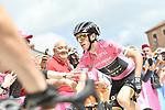 Race leader Simon Yates (GBR) Mitchelton-Scott in the Maglia Rosa arrives at sign on before the start of Stage 9 of the 2018 Giro d'Italia, running 225km from Pesco Sannita to Gran Sasso d'Italia (Campo Imperatore), this year's Montagna Pantani, Italy. 13th May 2018.<br /> Picture: LaPresse/Gian Mattia D'Alberto | Cyclefile<br /> <br /> <br /> All photos usage must carry mandatory copyright credit (&copy; Cyclefile | LaPresse/Gian Mattia D'Alberto)