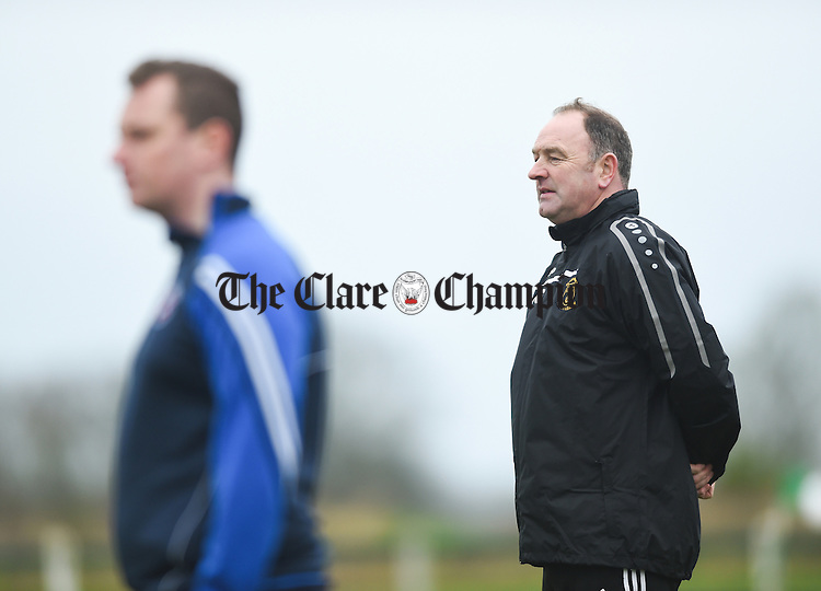 Clare manager Donie Garrihy  on the sideline during their FAI Oscar Traynor game against Limerick. Photograph by John Kelly.
