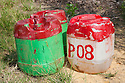 Two containers of glyphosate herbicide that is sprayed around young palm trees once a month to keep vegetation away. The chemicals have already been diluted to avoid toxic spills in the fields. The Sindora Palm Oil Plantation, owned by Kulim, is green certified by the Roundtable on Sustainable Palm Oil (RSPO) for its environmental, economic, and socially sustainable practices. Johor Bahru, Malaysia